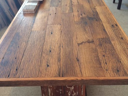 Antique reclaimed Oak table on columns