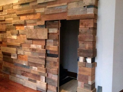 3-D mixed wood wall/ sliding door