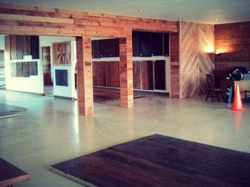 Pine/pecan/shiplap walls- showroom