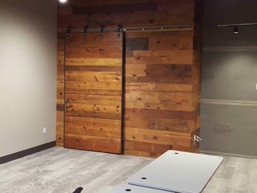 Pine wall and sliding pine barn door