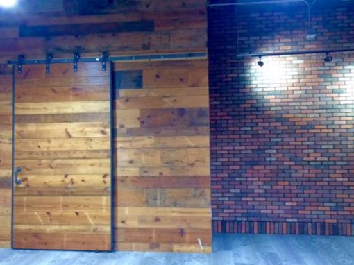 Pine wall/sliding door, architect office