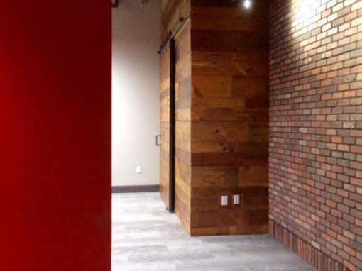 Varied widths pine wall/door