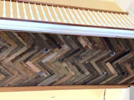 Dirty top oak herringbone under 2nd floor aerial walkspace.