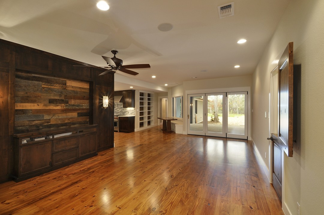 Pine Flooring with Oak Wall Accents